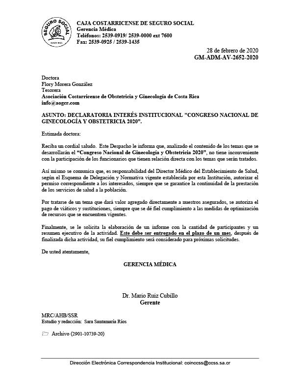 Declaración de Interés Institucional