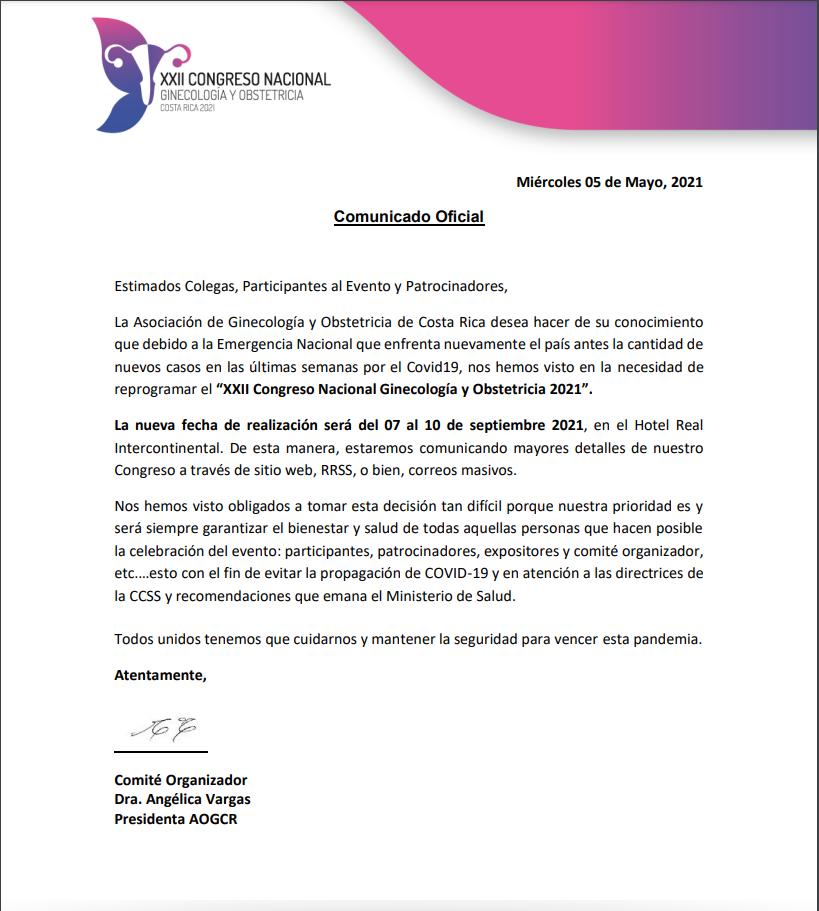 COMUNICADO AOGCR-CG2021-NUEVAS FECHAS