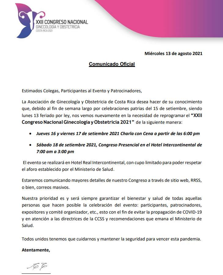 COMUNICADO OFICIAL AOGCR NUEVAS FECHAS 2021